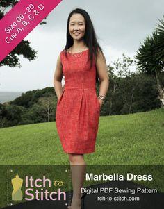 Marbella Dress PDF Sewing Pattern Size 00  20 by kenniswong