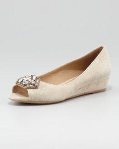 Donald J Pliner Sonet Jeweled Peep-Toe Ballerina Micro-Wedge, Pewter
