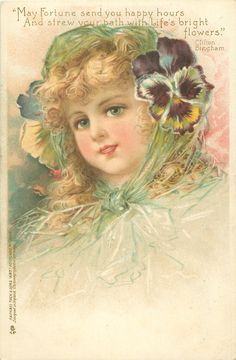 young girl in green, pansies dress her hat