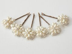 Flora Wedding Pearl Floral Hair Pins Set of 6 Bridal Bridesmaid Hair Accessories Ivory Freshwater Pearls and Silver Swarovski Rhinestones