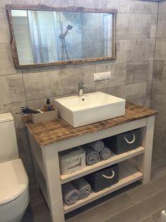 Bathroom vanity designs - Rustic Bathroom Vanity buildsomething com Bathroom Vanity Designs, Rustic Bathroom Designs, Rustic Bathroom Vanities, Bathroom Layout, Bathroom Interior Design, Bathroom Furniture, Bathroom Storage, Bathroom Ideas, Rustic Vanity