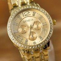 Creo que 2015 New Style Fahion Gold Color Three Eyes Six Pin Crystal Dial Steel Band Geneva Quartz Relogios Watch Women Men  te gustará. Agrégalo a tu lista de deseos   http://www.wish.com/c/53ccf98a9ac54f125b667fcb