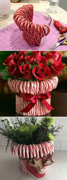 Stretch a rubber band around a vase, then stick in candy canes until you can't see the vase. Fill with red and white roses or carnations. - Ideas to decorate your home for the Winter & Christmas holidays! Noel Christmas, Winter Christmas, Christmas Wreaths, Christmas Ornaments, Christmas Dishes, Christmas Ideas For Mom, Christmas Island, Diy Christmas Wedding, Diy Christmas Gifts For Family