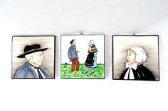 Lot de 3 plaques céramique Charolles décor Auvergnats peint à la main vintage France