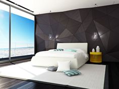 Bedroom. Modern Bedroom Design Ideas With Cool Geometric Pattern Mural And Glass Pendant Lamps Above White Queen Size Beds Plus Yellow Finish Wooden Coffee Table On The Bedside On Dark Hardwood Flooring As Well As Modern Living Room Sets Plus Modern Bed Furniture. The Most Charmingly Room Design Ideas For Your Interior Home Decorating