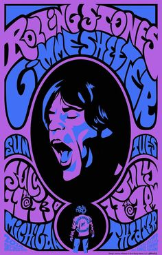 Rolling Stones vintage retro classic rock psychedelic concert poster- so chilled Psychedelic Rock, Psychedelic Posters, Vintage Concert Posters, Vintage Posters, Poster Art, Poster Prints, Art Posters, Poster Frames, Poster Poster