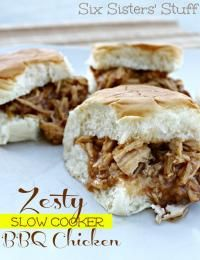 Six Sisters Zesty Slow Cooker Barbecue Chicken. So easy to make and these little sandwiches taste amazing! #sixsistersstuff