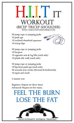 HIIT Workout Routine Bicep Tricep Shoulder | ahealthylifeforme.com