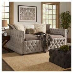 Darlington Tufted Daybed - Twin - Smoke (Grey) - Inspire Q