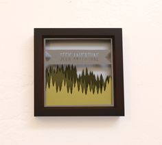 seek adventure . 5x5 . cut paper shadow box . banner & evergreens