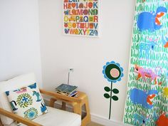 beautiful home of Jane Foster, so very fresh and inspiring with the white walls and bright bold colours