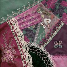I ❤ crazy quilting & embroidery . . . 2011 DYOB#1 for Josie- From the Chain of Hearts group. I really liked learning Kiko's Flower Stitch for this one. ~By stitchintime