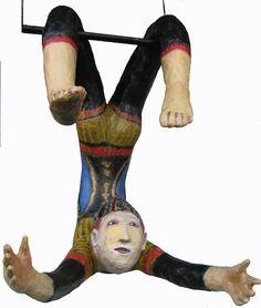 le trapéziste, papier mâché, acrylique env. 36 pouces haut et largeur, *VENDU Arts Plastiques, Paper Mache, Top