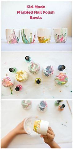 Make beautiful marbled bowls with the kids using nail polish! These make pretty and lovely handmade gifts from the kids. Great for Mother's Day, grandparent or teacher gifts.