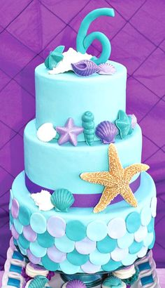 Ariel Inspired Ombre Little Mermaid Cake and Party Ideas