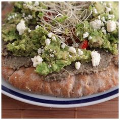 Hummus Pizza - Multigrain Pita, Homemade Hummus,  Avocado mixed w/ Lemon, Sprout, Feta & Red Pepper - @xo_dominichulinda- #webstagram
