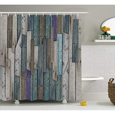 Wooden Shower Curtain Set by Ambesonne, Blue Grey Grunge Rustic Planks Barn House Wood and Nails Lodge Hardwood Graphic Print, Fabric Bathroom Decor with Hooks, 75 Inches Long, Teal Purple Grey Barn Door Shower Curtain, Rustic Shower Curtains, Shower Curtain Sets, Bathroom Shower Curtains, Fabric Shower Curtains, Stall Shower, Curtain Fabric, Teal Bathroom Accessories, Bathroom Decor Sets