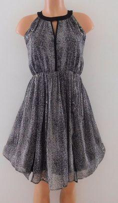 Molly Bracken White Feather Print Sleeveless Dress Size Medium