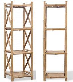 4 Tier Bamboo Shelf Indoor Outdoor Storage Rack Book Shelves Home Decoration