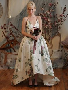 Elizabeth Fillmore rose garden satin high-low ball gown wedding dress Spring 2016