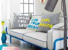 Furniture, Quotes Pillows With Sayings Pillows With Sayings On Them As Decorative Bed Pillows For Living Room With White And Gray Color With White And Blue Sofa ~ Pillows With Saying For Your Bedroom And Living Room That Awesome And Cute