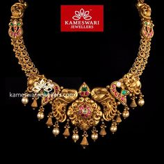 Traditional gold necklaces for women from the house of Kameswari. Shop for antique gold necklace, exquisite diamond necklace and more! Gold Temple Jewellery, Gold Jewellery Design, Gold Jewelry, Antique Jewellery, Trendy Jewelry, Statement Jewelry, Unique Jewelry, Buy Earrings, Diamond Earrings