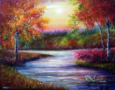 Evening Solace by AnnMarieBone Colorful Paintings, Beautiful Paintings, Beautiful Landscapes, Painting Videos, Painting & Drawing, Abstract Landscape, Landscape Paintings, Original Paintings For Sale, Bob Ross