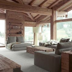 Love the gray and the wood color contrast in this woodhouse's sitting room Chalet Interior, Living Room Interior, Chalet Design, Design Hotel, Wood Interiors, Cabin Interiors, Cool House Designs, Design Case, House In The Woods