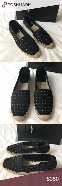 Saint Laurent Espadrilles Brand new with tags authentic Saint Laurent Espadrilles. Beautiful black canvas material adorned with black studs. Bottom features a brown straw like contrast material. Comes with box and dust bags. Saint Laurent Shoes Espadrilles