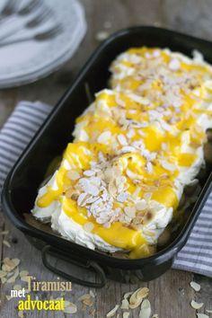Tiramisu met advocaat txt Dutch Recipes, Sweet Recipes, Baking Recipes, Brunch, Healthy Sweet Snacks, Healthy Recipes, Pie Co, Good Food, Yummy Food