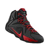 I designed the black Nike LeBron 12 iD men's basketball shoe with university red trim.