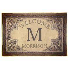 Personalized Vintage Family Initial Custom Welcome Doormat