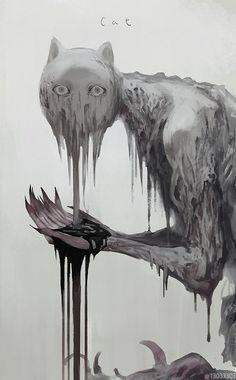 Melanime is the place to post melancholic anime artwork. Creepy Drawings, Dark Art Drawings, Monster Concept Art, Monster Art, Creature Concept Art, Creature Design, Arte Horror, Horror Art, Dark Art Illustrations