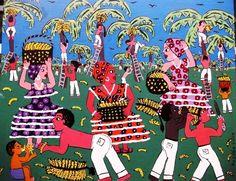 ROSARIA SILVA TEMA COLHENDO BANANA A VEDNA COM AJUR SP (Painting),  50x40 cm por Arte Naif AJUR SP VENDEDOR E DIVULGADOR DA ARTE NAIF BRASILEIRA