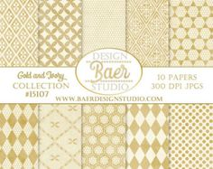 DIGITAL PAPER GOLD:Gold and Ivory Digital Paper, Wedding Digital Paper, Gold Lace Digital Paper, 50th Anniversary Scrapbook Paper
