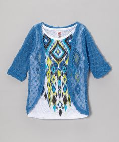 Love this Beautees White Tribal Tank & Blue Cardigan - Girls by Beautees on #zulily! #zulilyfinds