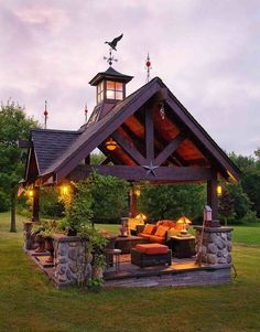 Here is a stunning stone and wood gabled Pavillion.Think of all the wonderful times one could have with family and friends!