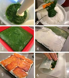 Para enrollar este vistoso brazo de gitano de espinacas y salmón puedes usar una esterilla de bambú de las que sirven para hacer sushi o un tapete de silicona.