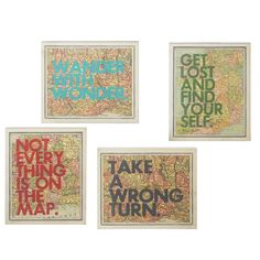 4-Piece Map with Quotes Framed Textual Art Set