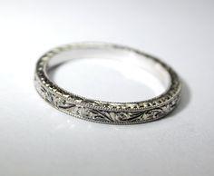 Hand Engraved Platinum Wedding Ring / Band. 2 by konstantinkapirin, $595.00