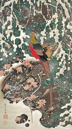 19 雪中錦鶏図 Setchu Kinkei-zu(Golden Pheasants in Snow)