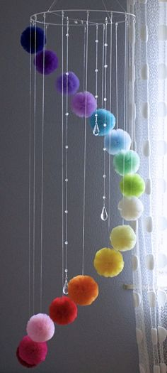 Rainbow Centerpiece for Garden or Living Room, Floating Mobile with Crystals Rainbow Mobile for Nursery Colorful Baby Mobile Teenage Room