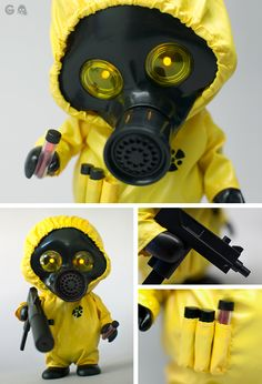 GERM s003 [NUUK] | Squadt | Yellow hazmat style suit and special GERM helmet with working LED eyes  | Edition: 200 | Artist: Ferg