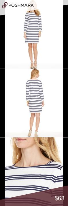 "Vineyard Vines' Triple Stripe Cotton Dress size S Thrice as nice! Your go-to women's dress just got a little more ""go"" to it with refined triple stripes stepping in for the usual wide stripes.  Fabrics: · 100% cotton   Features: · Full length sleeve  · Boat neck  · Side vents at hem  · Length: 35 1/2"" (based off size small)  Care Instructions: · Machine wash Vineyard Vines Dresses Long Sleeve"