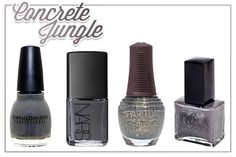 fall-nail-trends-gray    Sinful Colors- Smokin', NARS- Stone Bird, SpaRitual- Congomerate, NCLA- Rock Solid