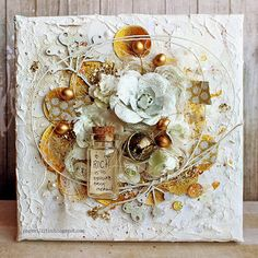 Riikka Kovasin - Paperiliitin - White and Gold Mixed Media Canvas - Tattered Angels Would be fun to do this to the lid of a gift box. Mixed Media Cards, Mixed Media Artwork, Mixed Media Collage, Altered Canvas, Altered Art, Mix Media, Diy And Crafts, Paper Crafts, Mixed Media Scrapbooking