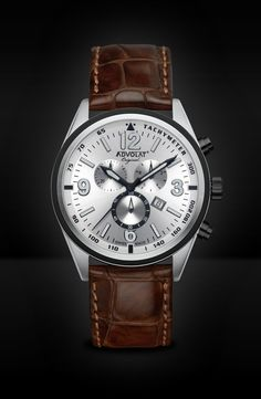 ADVOLAT VOYAGE Swiss Made Chronograph, Tachymeter, Stainless Steel Casing Bicolor IP black, Face silver sunray, Leather Bracelet light brown, Ref. 88006/5-L5 Limited Edition Watches, Watches Online, Stainless Steel Case, Chronograph, Omega Watch, Bracelets, Dark Brown, Face, Silver