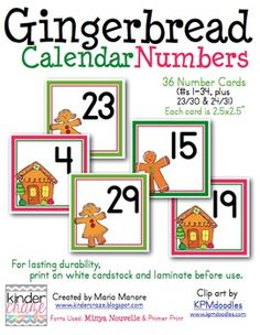 Gingerbread Themed Calendar Numbers - FREE for the next 30 minutes :)