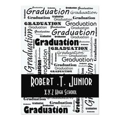 mod typography black white Graduation Invitation
