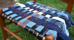 Denim chair seat - what a great idea to redo a ladder back chair or any chair...I'm sure there are many other fabrics you could use, even drop cloths...